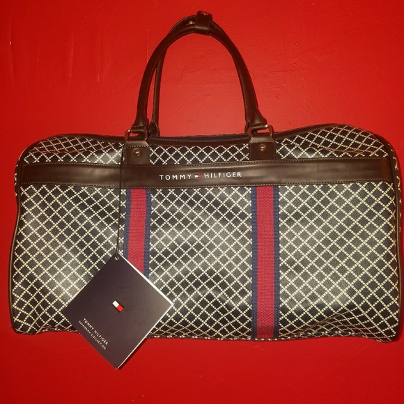 057e455f7624 Tommy Hilfiger leather duffle luggage bag